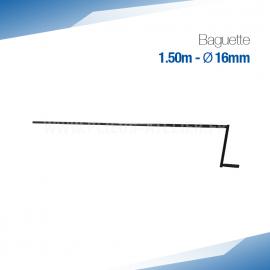 Baguette 150 cm à métal et Zinc - Ourlet de 16 mm